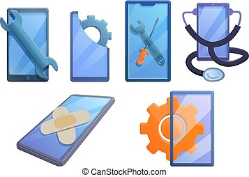 Mobile phone repair icons set, cartoon style