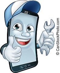 Mobile Phone Repair Spanner Thumbs Up Mascot