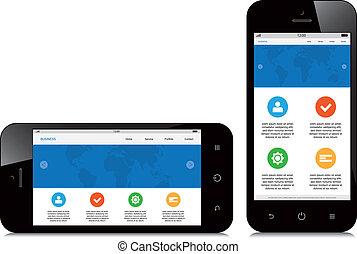 mobile phone responsive webdesign on white background
