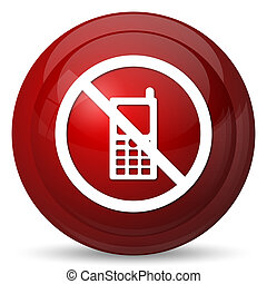 Mobile phone restricted icon. Internet button on white background.