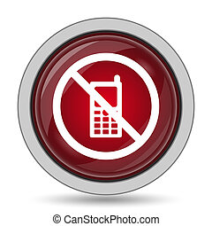 Mobile phone restricted icon. Internet button on white...