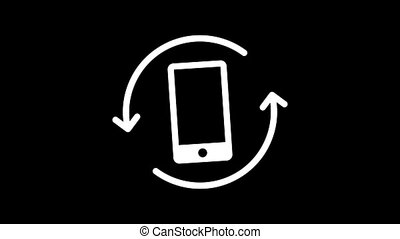 Mobile phone rotation icon. Animation social networks. Alpha channel