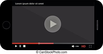 Mobile phone screen with video modern player Realistic smartphone with video player interface template