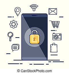 mobile phone security technology web app icons