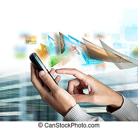 Mobile phone send picture - Modern touch screen mobile phone...