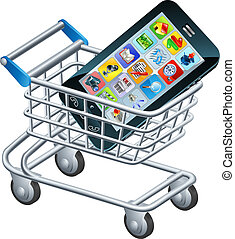 Mobile phone shopping cart, a concept for shopping for apps...