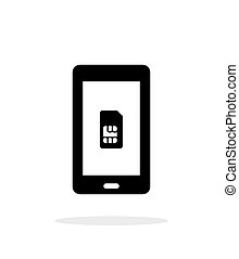 Mobile phone SIM card simple icon on white background.