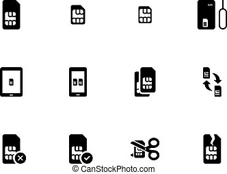 Mobile phone SIM icons on white background.