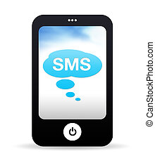 High resolution Mobile Phone graphic with SMS bubbles.