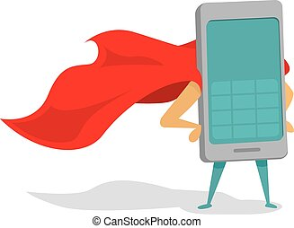 Mobile phone super hero with cape