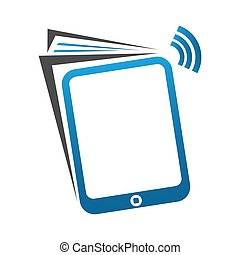 Mobile phone symbol with book
