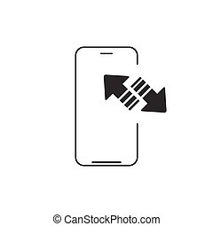 Mobile phone sync outline icon. linear style sign for mobile concept and web design. synchronization or upload and download arrows. Vector illustration isolated on white background.