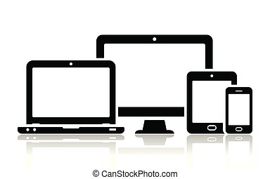 Mobile phone, tablet, laptop and desktop computer icons -...