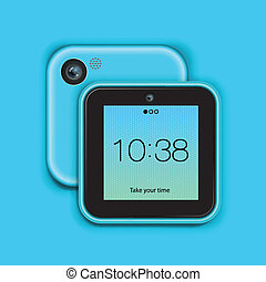 Mobile phone tablet on blue background, vector Eps10 image.