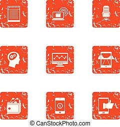Mobile phone technology icons set, grunge style