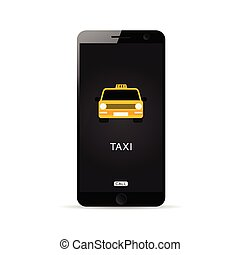 mobile phone technology with taxi on it illustration
