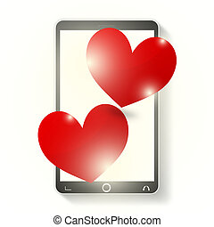 Mobile Phone Two Hearts