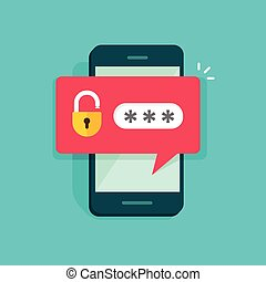 Mobile phone unlocked notification button and password field vector, concept of smartphone security