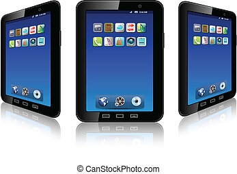 Mobile phone with icons, smartfone realistic vector illustration.