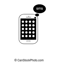 mobile phone vector with message icon