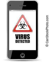 Mobile phone virus icon