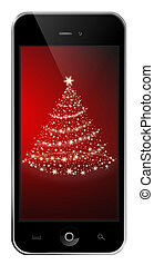 Mobile phone with a christmas tree