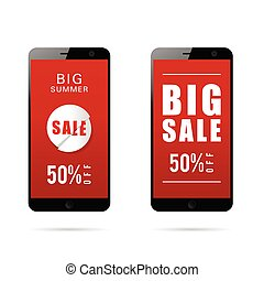 mobile phone with big sale on it illustration