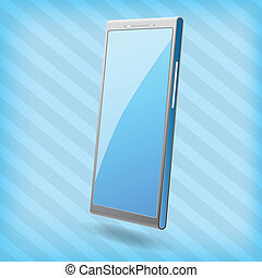 mobile phone with blank screen isolated on a blue stripped background