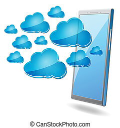mobile phone with blue cloud computing icons on a white background