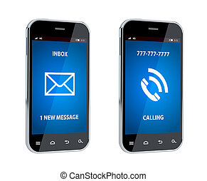 Mobile phone with call and message sign - 3d render of...