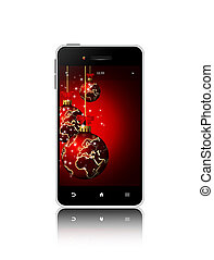 mobile phone with christmas greetings isolated over white