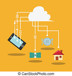 Mobile phone with cloud of application icons, concept network.