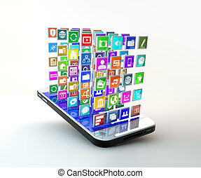 Mobile Phone with cloud of application icons - Mobile Phone...