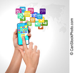 Mobile phone with colorful application icons