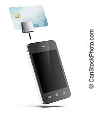Mobile phone with Credit Card isolated on a white background