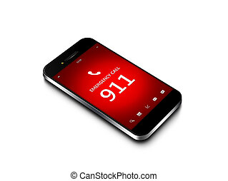 mobile phone with emergency number 911 isolated over white...