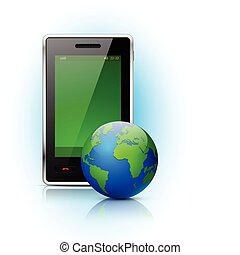 Mobile phone with globe on blue background. Vector illustration.
