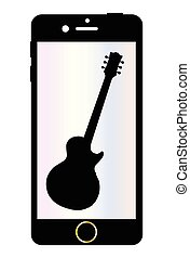 Mobile Phone With Guitar Isolated