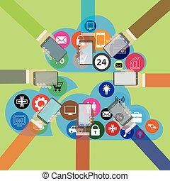 Mobile phone  with hand and cloud of icons