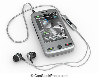 Mobile phone with headphones. 3d - Mobile phone with ...