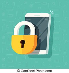 Mobile phone with lock vector illustration, flat cartoon locked smartphone and padlock guard, concept of security or privacy, cellphone protection technology, safe authorization, prohibited access