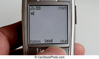 """Hi - Mobile phone with message \\\""""Hi\\\"""" on the screen."""