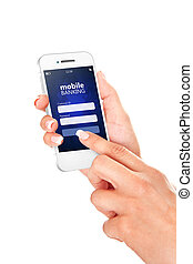 mobile phone with mobile banking log in page holded by hand ...