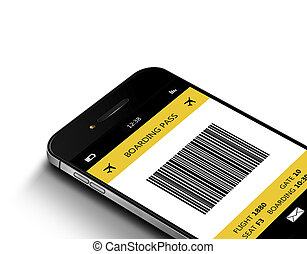 mobile phone with mobile boarding pass over white - mobile ...