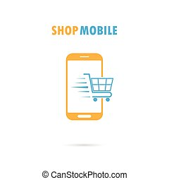 Mobile phone with online shopping application.Internet shopping phone concept illustration.Shopping cart flying out of phone screen.Buying shopping online.