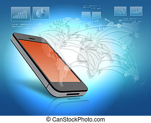 mobile phone with orange screen and world map.