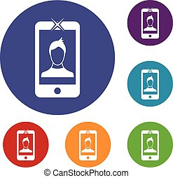 Mobile phone with photo icons set