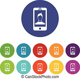 Mobile phone with photo set icons