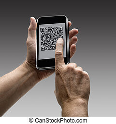 mobile phone with QR code - Two hands holding a mobile...