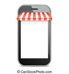 Mobile Phone with Red Awning